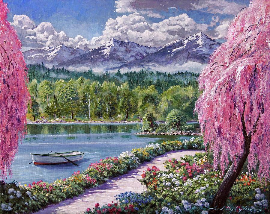 Springtime Lake Garden Walk Painting