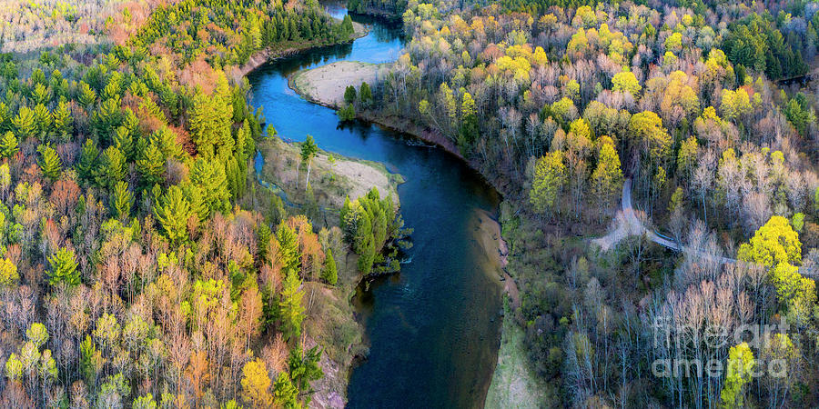 Manistee River Photograph - Springtime On The Manistee River Aerial by Twenty Two North Photography