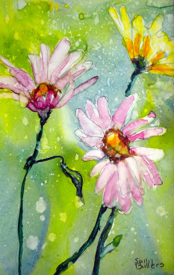 Daisies Painting - Springtime by Sally Bullers