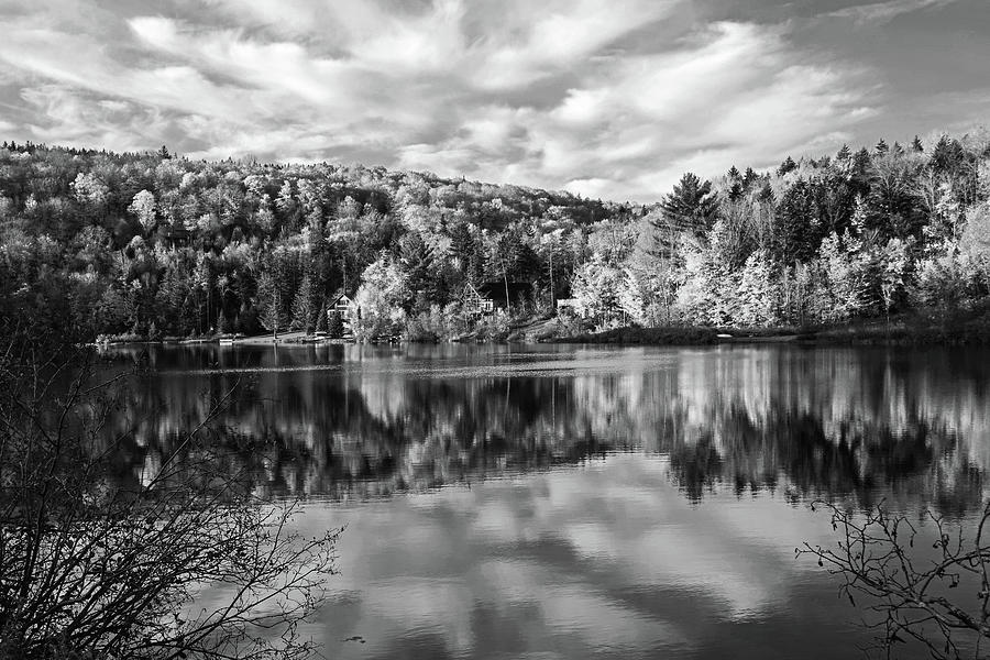Spruce Lake Wilmington VT Fall Foliage Autumn Black and White by Toby McGuire