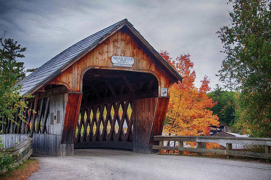 Squam River Covered Bridge in October by Jeff Folger