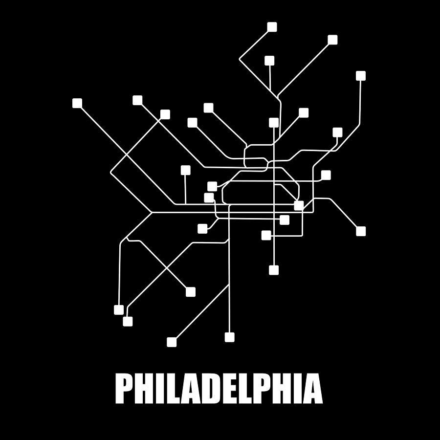 Philadelphia Digital Art - Square Philadelphia Subway Map by Naxart Studio