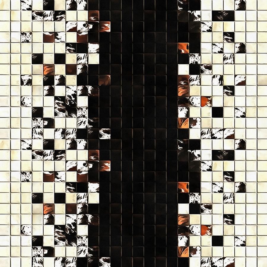 Square Tiles Ceramic Mosaic Pattern Sienna Accent by Taiche Acrylic Art