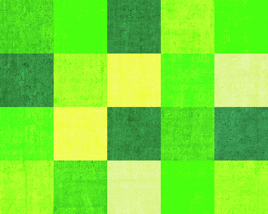 Squares Green - Horizontal Digital Art