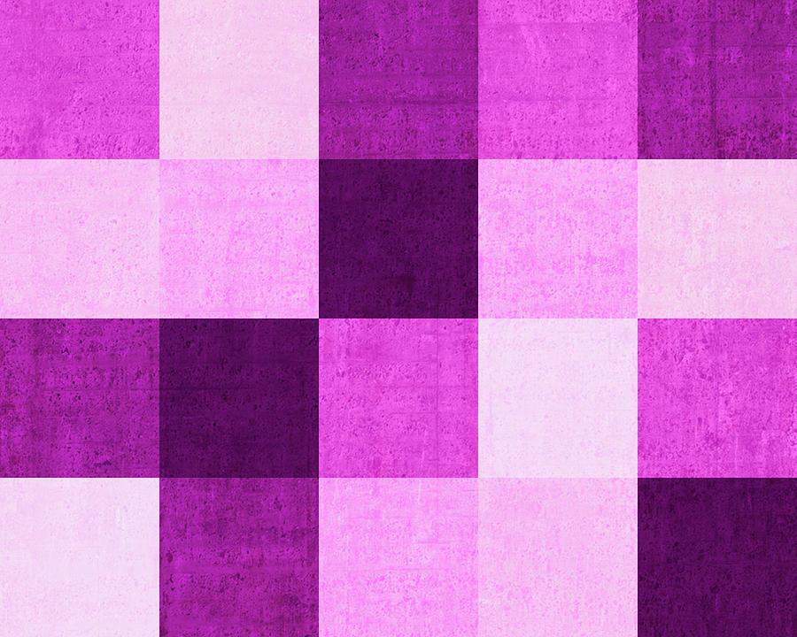 Squares Magenta -horizontal Digital Art