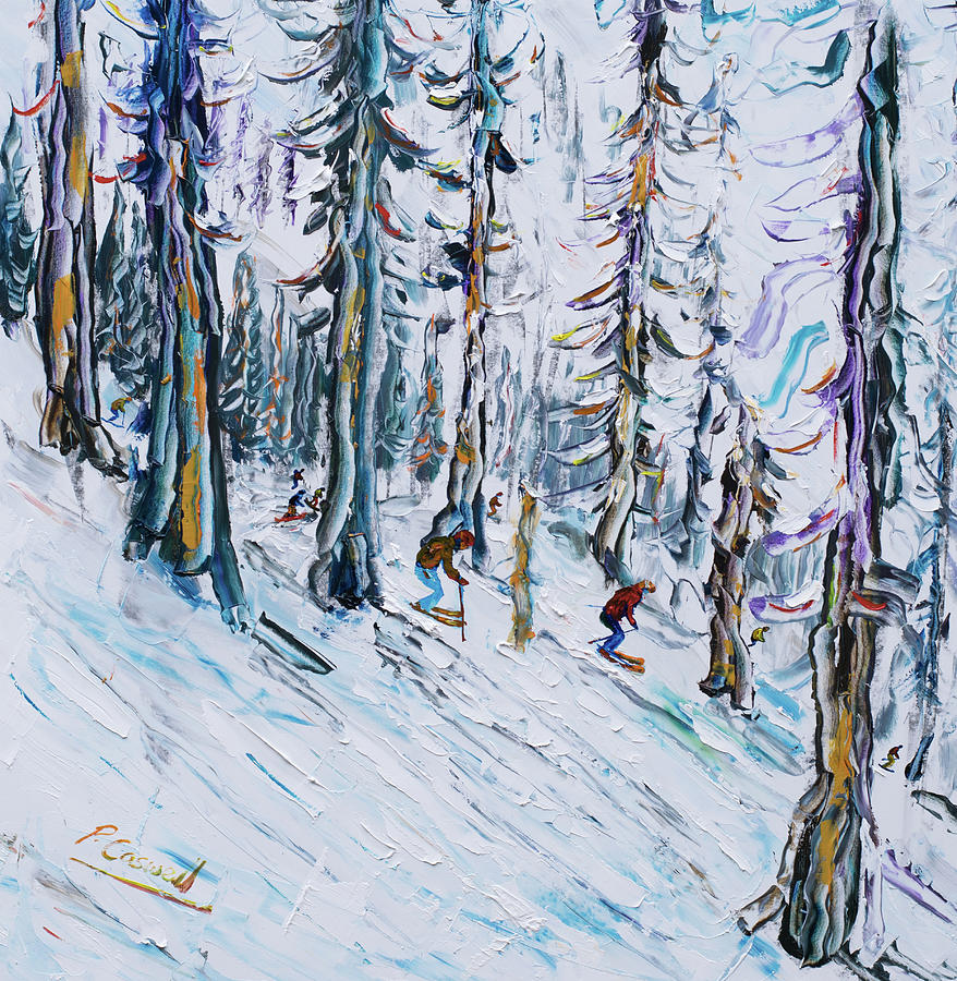 Squaw Valley Skiing in the Woods by Pete Caswell