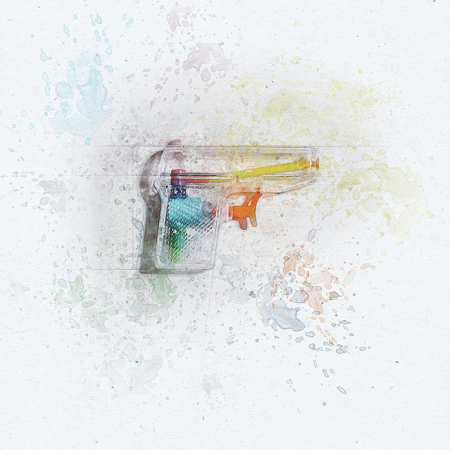 Squirt Gun Painted Digital Art