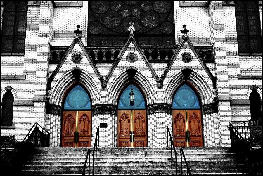 St Andrews Catholic Church Selective Color Mixed Media
