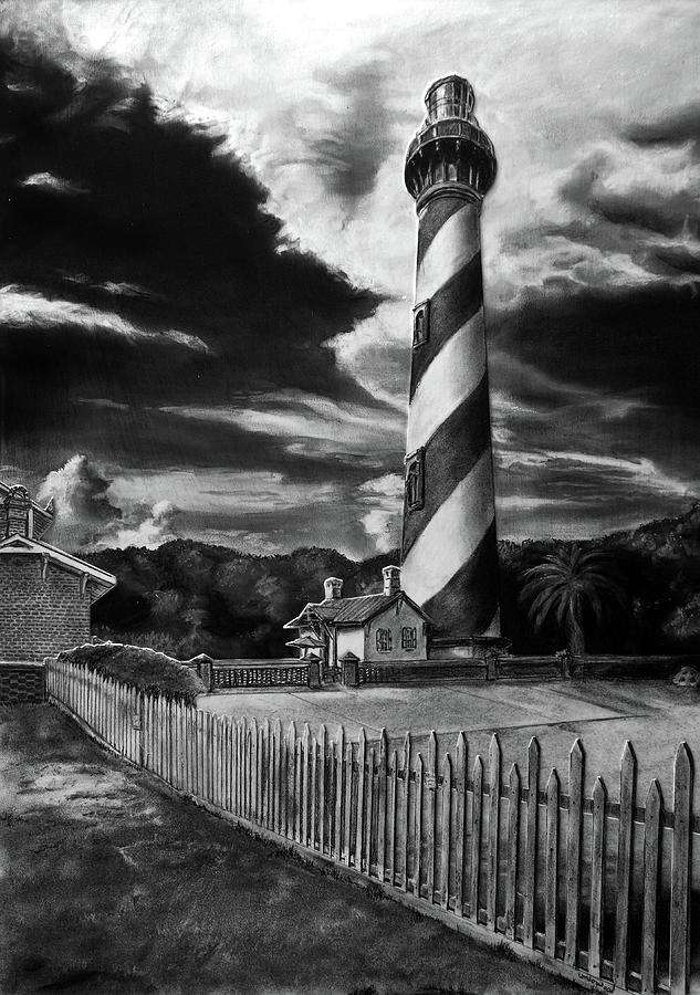 Charcoal Drawing - St. Augustine Lighthouse by William Underwood