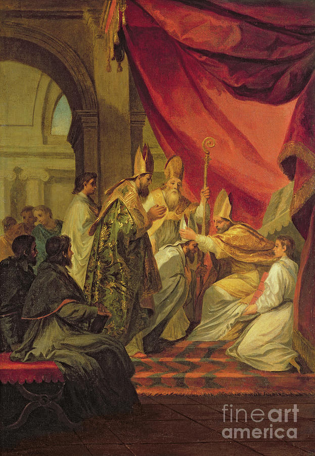 St Painting - St Augustine Ordained As The Bishop Of Hippo by Louis de Boulogne the Younger