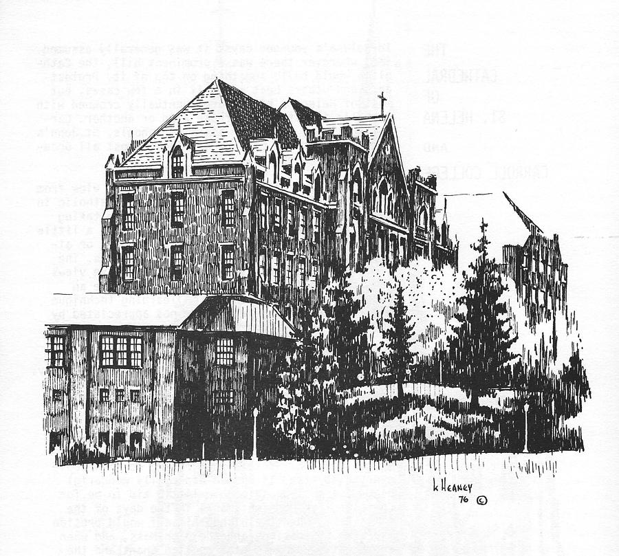 Carroll College Drawing - St Charles Hall Carroll College Helena Montana by Kevin Heaney