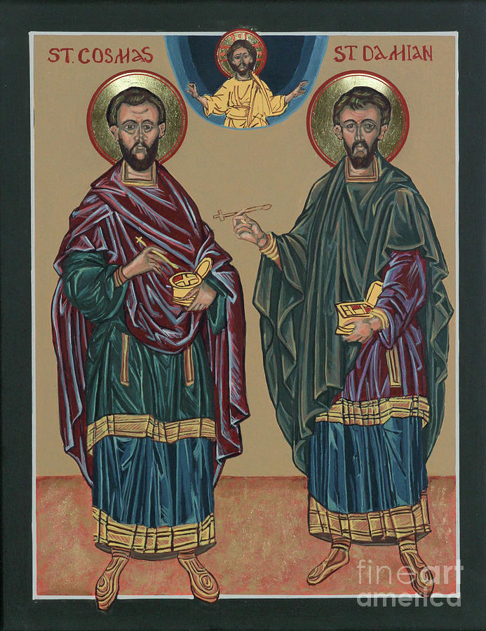 Iconography Painting - St. Cosmas And St. Damian by Elizabeth Roskam