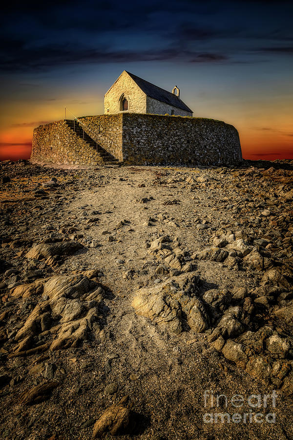 Sunset Photograph - St Cwyfan Church Sunset by Adrian Evans