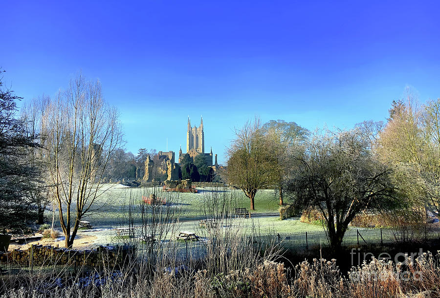 Abbey Photograph - St Edmundsbury Cathedral In Winter by Tom Gowanlock