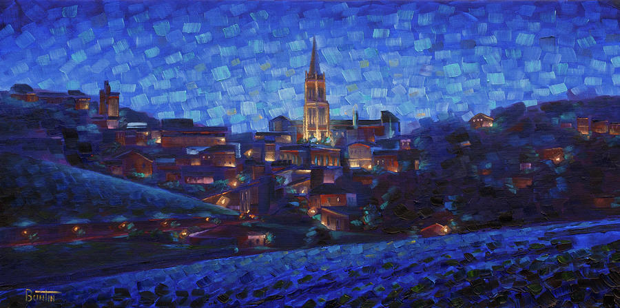 Impressionism Painting - St. Emilion art at night by Rob Buntin