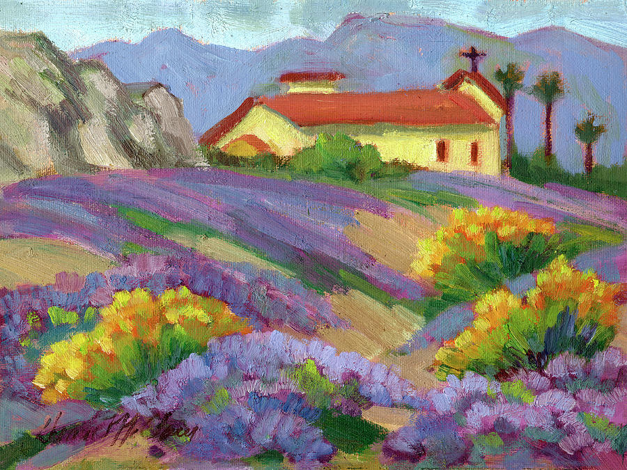 St. Francis Church, Verbena and Desert Sunflowers by Diane McClary