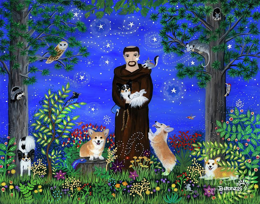 Corgi Painting - St. Francis in Corgiville by Sue Betanzos