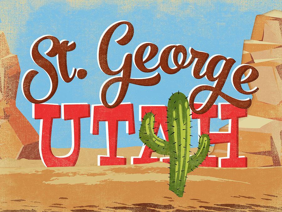 St George Digital Art - St George Utah Cartoon Desert by Flo Karp