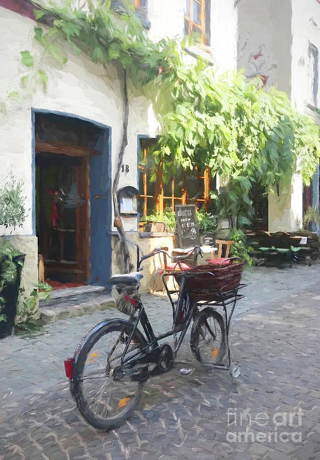 German Village Digital Art - St. Goar Bicycle, Germany by Susanne Arens