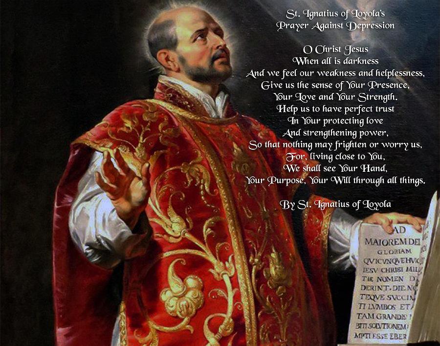 By Saint Ignatius Of Loyola Poster Print Watercolor Prayer Against Depression
