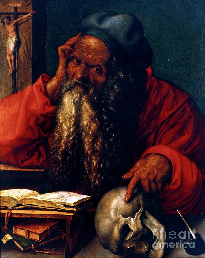 St Jerome, 1521. Artist Albrecht Dürer Drawing by Print Collector