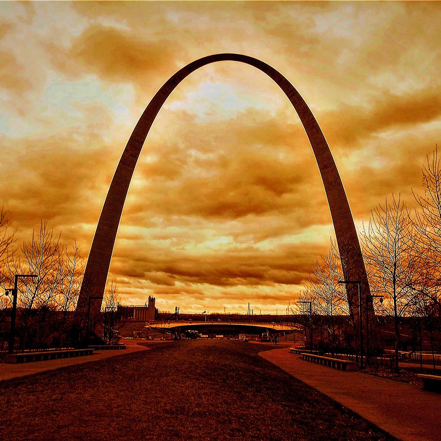 St. Louis Arch Against Turbulent Skies by Michael Oceanofwisdom Bidwell