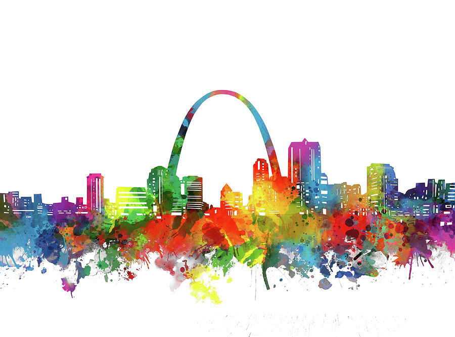St Louis City Skyline Watercolor Digital Art