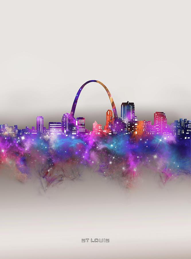 St Louis Digital Art - St Louis Skyline Galaxy by Bekim M