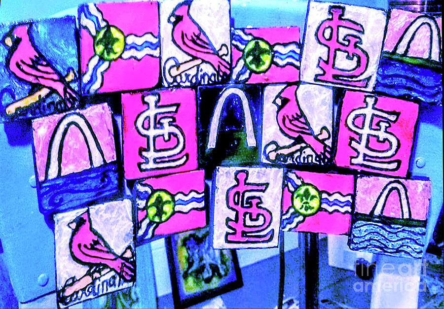 St. Louis Themed Enameled Fine Art Magnets Painting