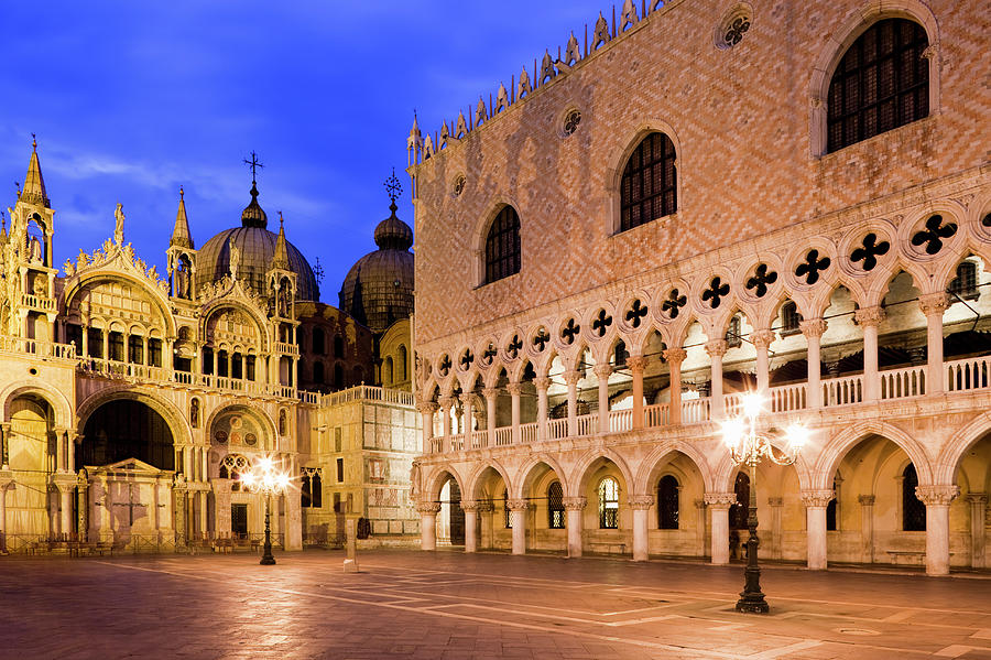 St. Marks Basilica, Doges Palace At Dusk Photograph by Jorg Greuel