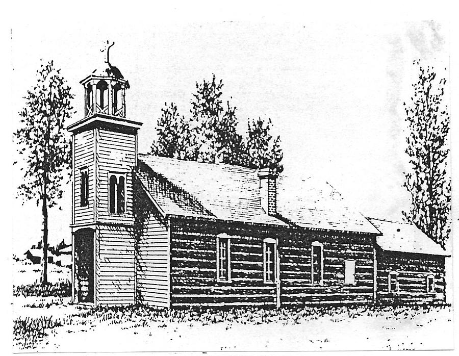 Stevensville Drawing - St. Marys Mission, Stevensville, Montana by Kevin Heaney