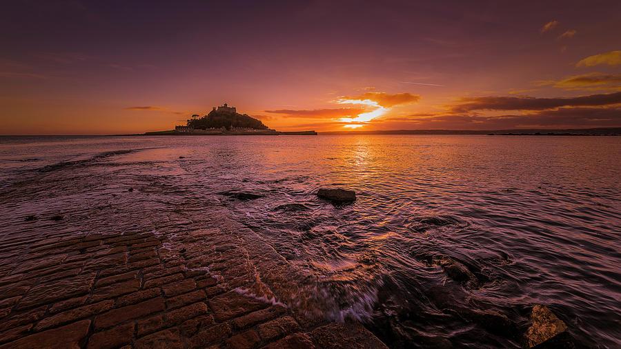 St Michael's Mount - January Sunset by Eddy Kinol