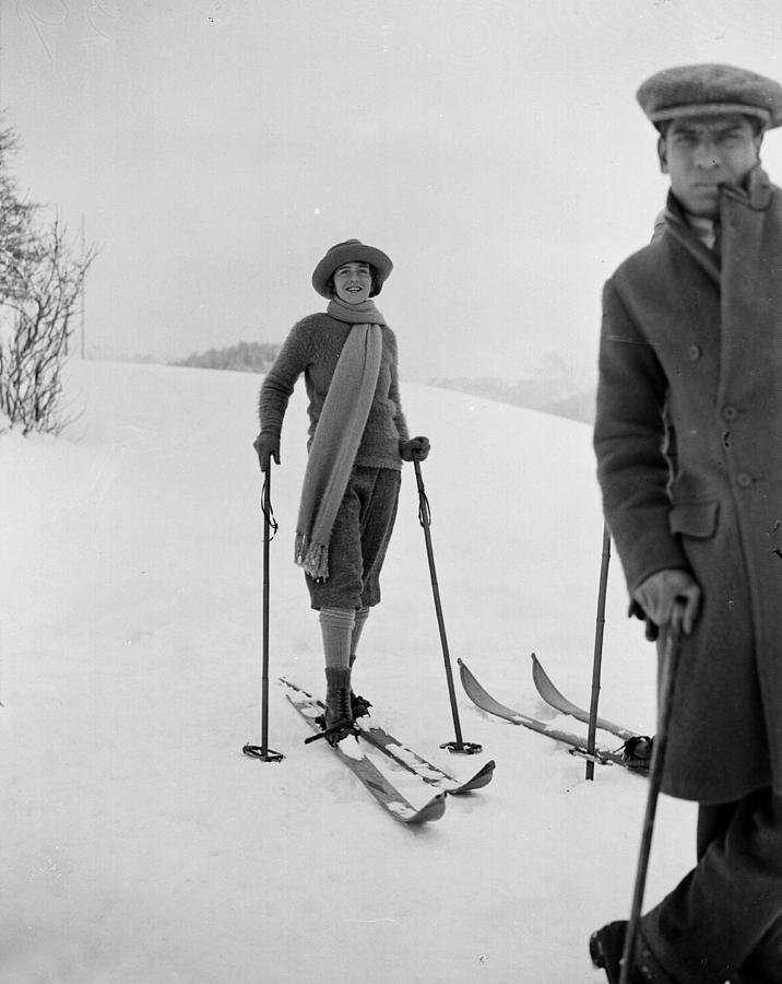 St Moritz Skiers Photograph by W. G. Phillips