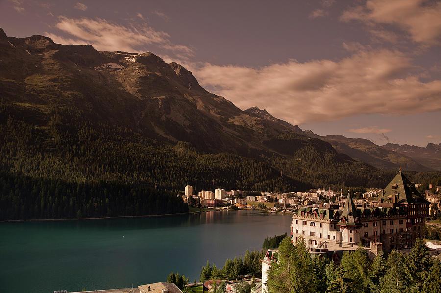 St. Moritz, Switzerland Across Lake Photograph by Charles Briscoe-knight