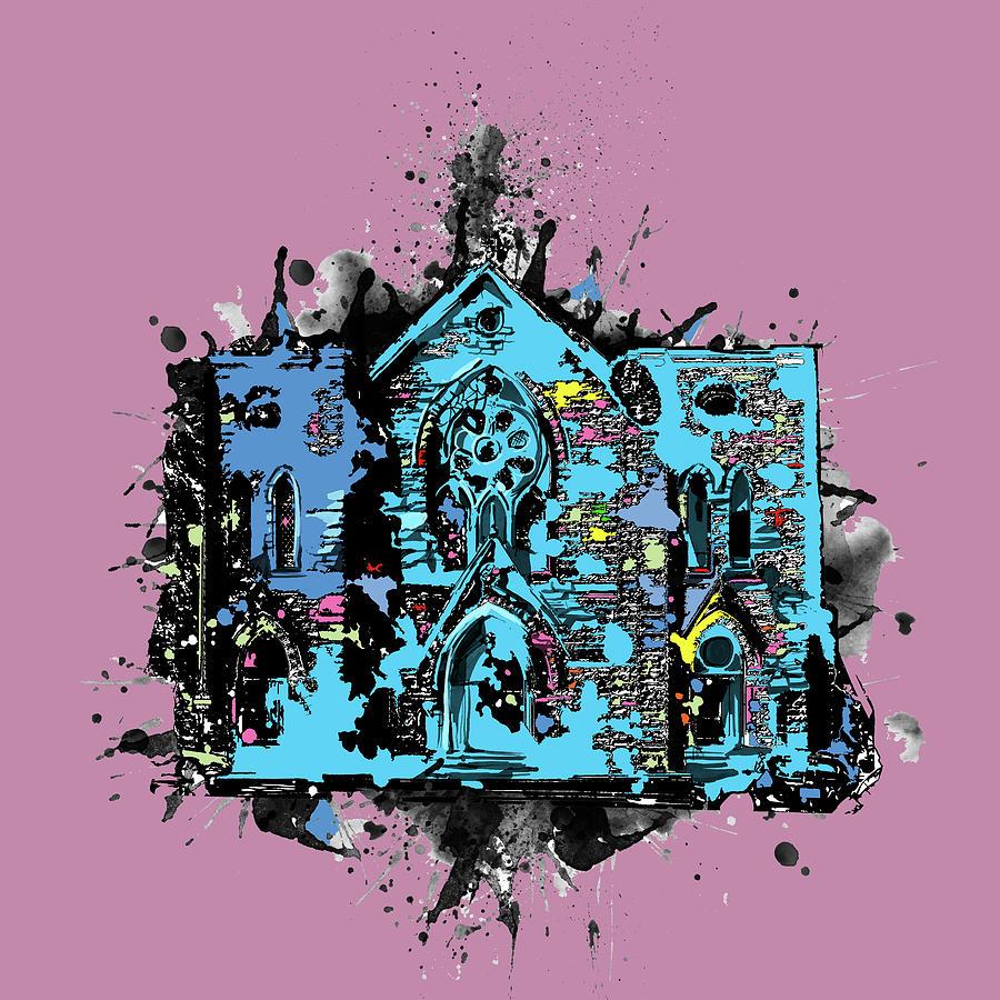 St Patrick Cathedral Fort Worth Pop Art Digital Art
