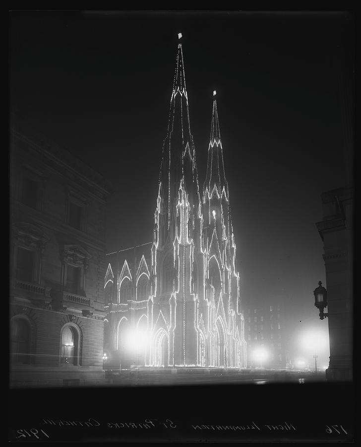 St. Patricks Cathedral Illuminated At Photograph by The New York Historical Society