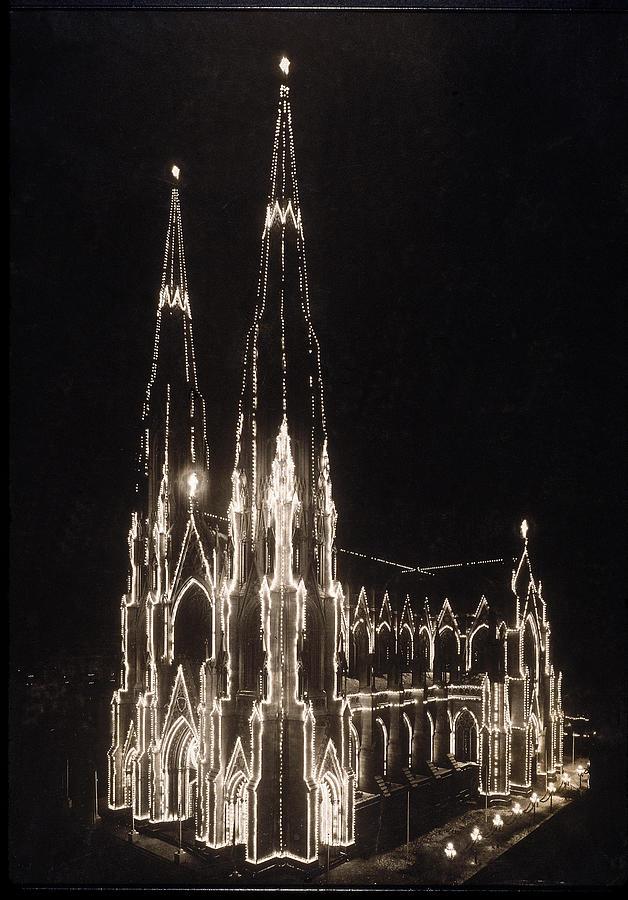 St Patricks Lights At Christmas Photograph by Edwin Levick