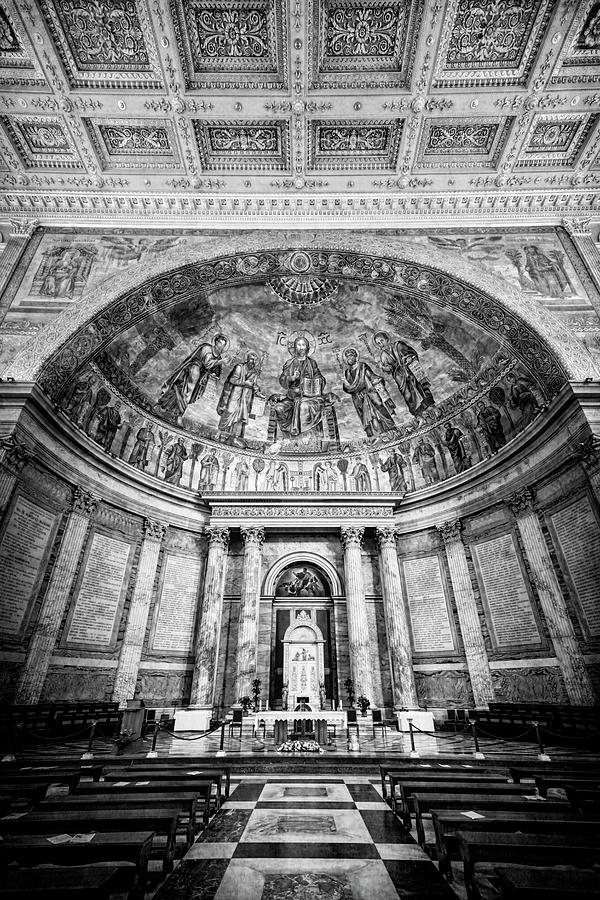 St Paul Outside the Walls Altar Rome Italy BW by Joan Carroll