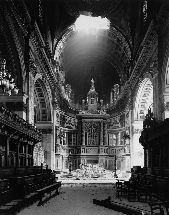 St Pauls Bomb Damage Photograph by Fox Photos