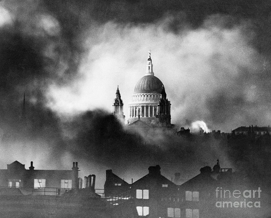St. Pauls Cathedral During Air Raid Photograph by Bettmann