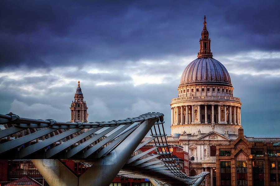 St Pauls Cathedral, Millennium Bridge Photograph by Joe Daniel Price