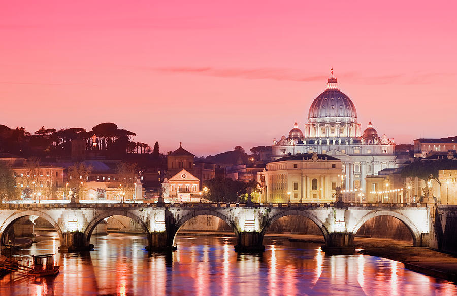 St Peters Basilica And River Tiber In Photograph by Deejpilot