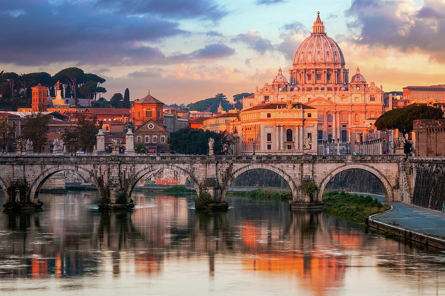 St Peters Basilica, St Angelo Bridge Photograph by Joe Daniel Price