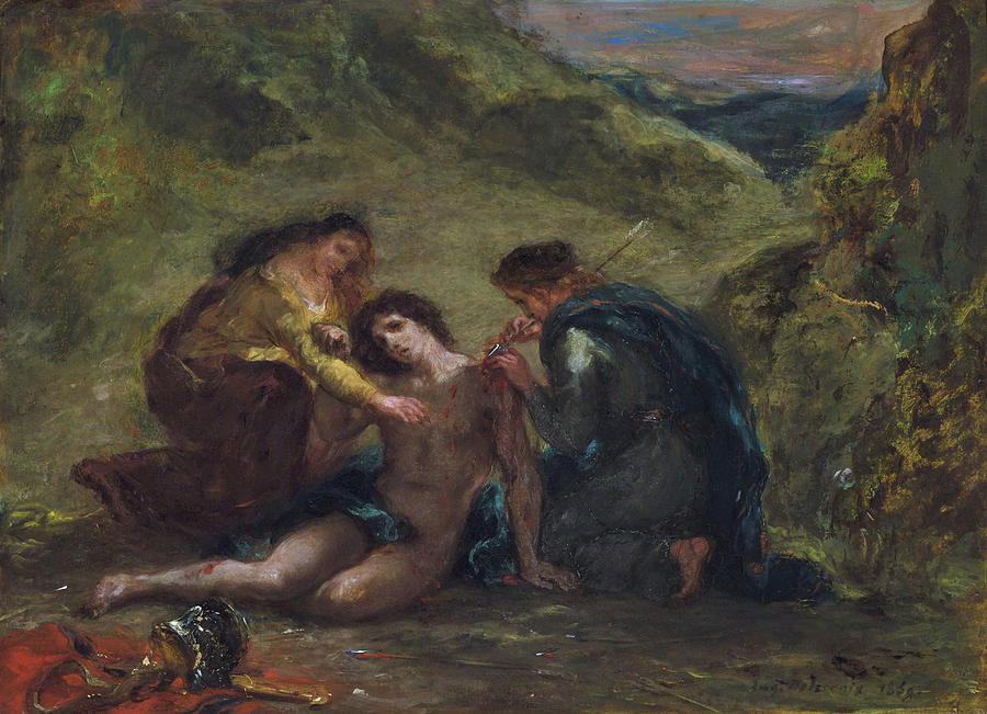 Eugene Delacroix Painting - St. Sebastian With St. Irene And Attendant - Digital Remastered Edition by Eugene Delacroix
