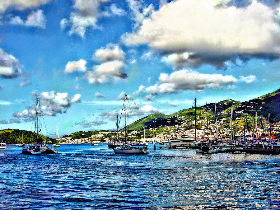 St. Thomas VI - Boats in Harbor by Susan Savad