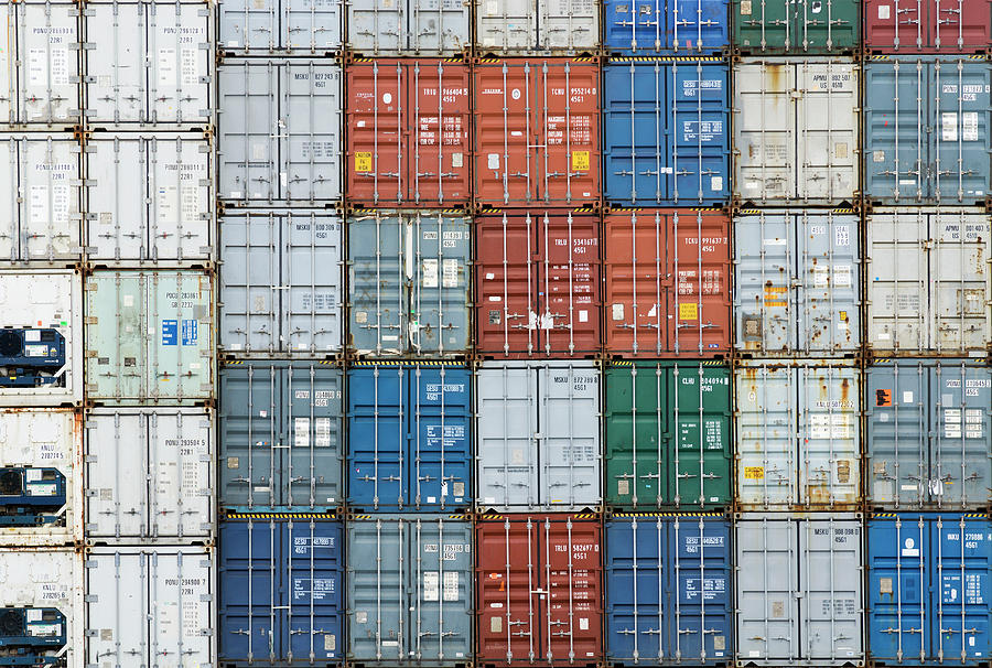 Stack Of Cargo Containers Full Frame Photograph by Andy Andrews