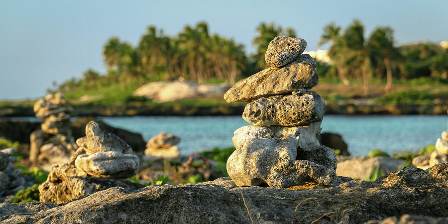 Stacked Rocks on Mexico Beach by Dave Matchett
