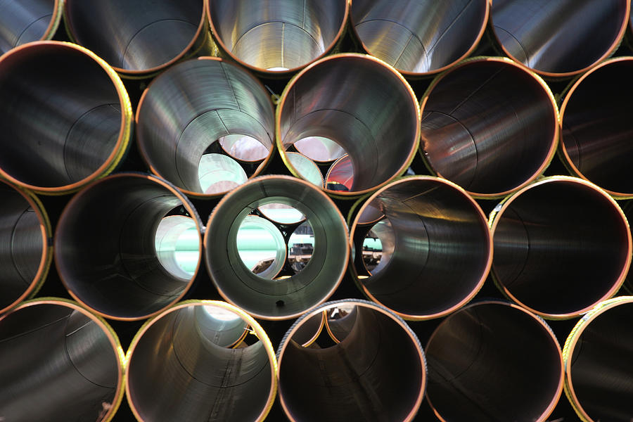 Stacked Steel Pipe Abstract Photograph by Kozmoat98