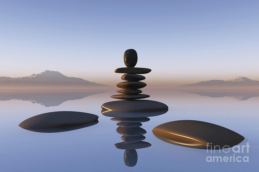 Stacked Stones In Pond Photograph by Aleksey Tugolukov