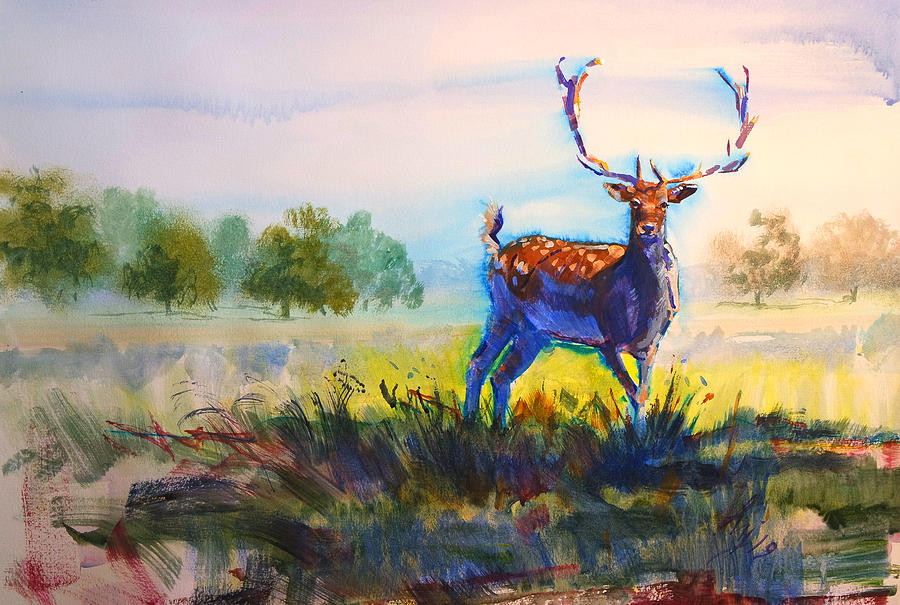 Stag with antlers in landscape painting by Mike Jory